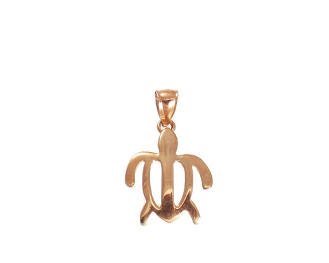 SOLID 14K PINK ROSE GOLD HAWAIIAN SEA TURTLE HONU OUTLINE PETRO PENDANT MEDIUM