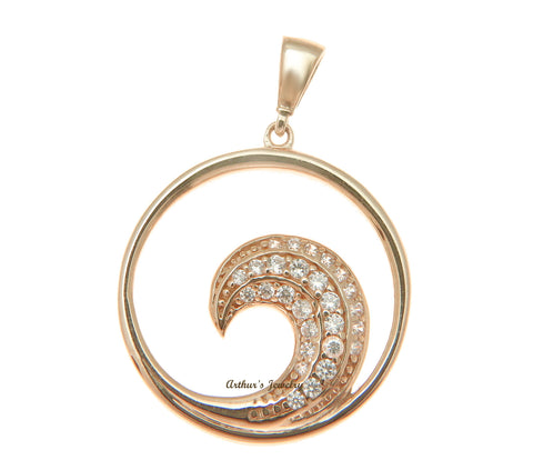 SOLID 14K ROSE GOLD HAWAIIAN OCEAN WAVE CIRCLE CHARM BLING CZ PENDANT 19MM