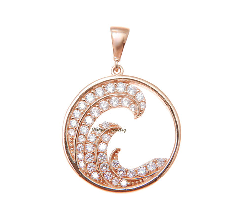SOLID 14K ROSE GOLD HAWAIIAN OCEAN WAVE CIRCLE CHARM BLING CZ PENDANT 17.40MM