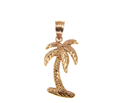 SOLID 14K ROSE GOLD MEDIUM HAWAIIAN PALM TREE PENDANT DIAMOND CUT