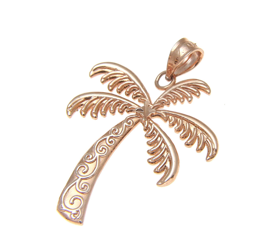 Solid 14k pink rose gold hawaiian scroll palm tree charm pendant solid 14k pink rose gold hawaiian scroll palm tree charm pendant small 14mm mozeypictures Gallery