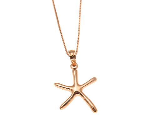 14K SOLID PINK ROSE GOLD SMALL HAWAIIAN SHINY SEA STAR STARFISH CHARM PENDANT