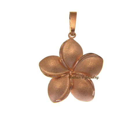 23MM SOLID 14K ROSE GOLD HAWAIIAN PLUMERIA FLOWER PENDANT