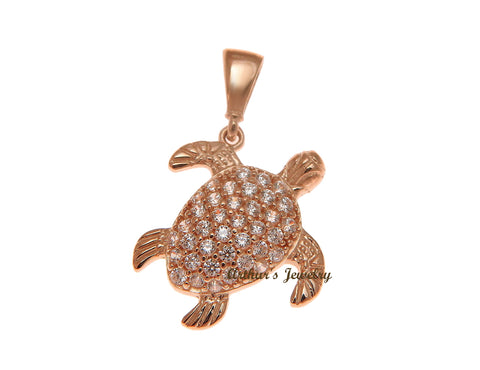SOLID 14K ROSE GOLD SPARKLY HAWAIIAN SEA TURTLE BLING CZ CHARM PENDANT 13.65MM