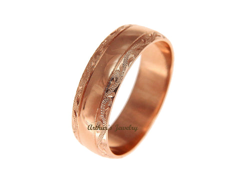 SOLID 14K PINK ROSE GOLD HIGH POLISH CUSTOM HAND ENGRAVED HAWAIIAN SCROLL RING 6MM