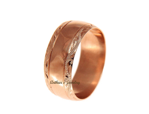 SOLID 14K PINK ROSE GOLD HIGH POLISH CUSTOM HAND ENGRAVED HAWAIIAN SCROLL RING 8MM