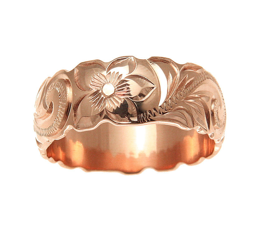 14k Pink Rose Gold Hand Engraved Hawaiian Plumeria Scroll