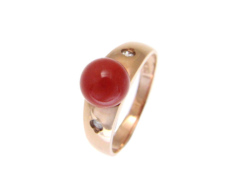 GENUINE NATURAL 7.30MM RED CORAL BALL DIAMOND RING IN SOLID 14K ROSE GOLD