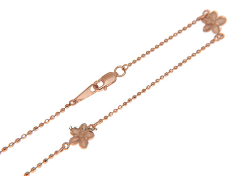 SOLID 14K ROSE GOLD 2 SIDED HAWAIIAN PLUMERIA DIAMOND CUT BEAD CHAIN ANKLET 10""