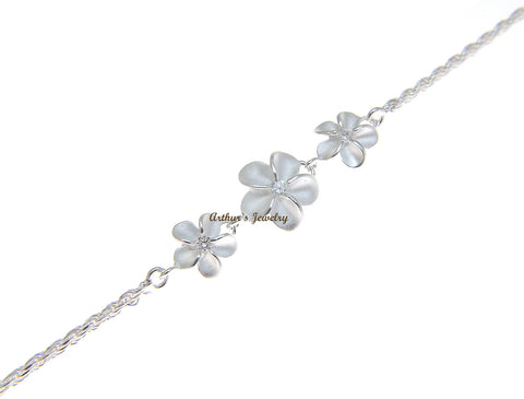 SILVER 925 HAWAIIAN 8MM-10MM-8MM PLUMERIA ROPE CHAIN ANKLET CZ 10""