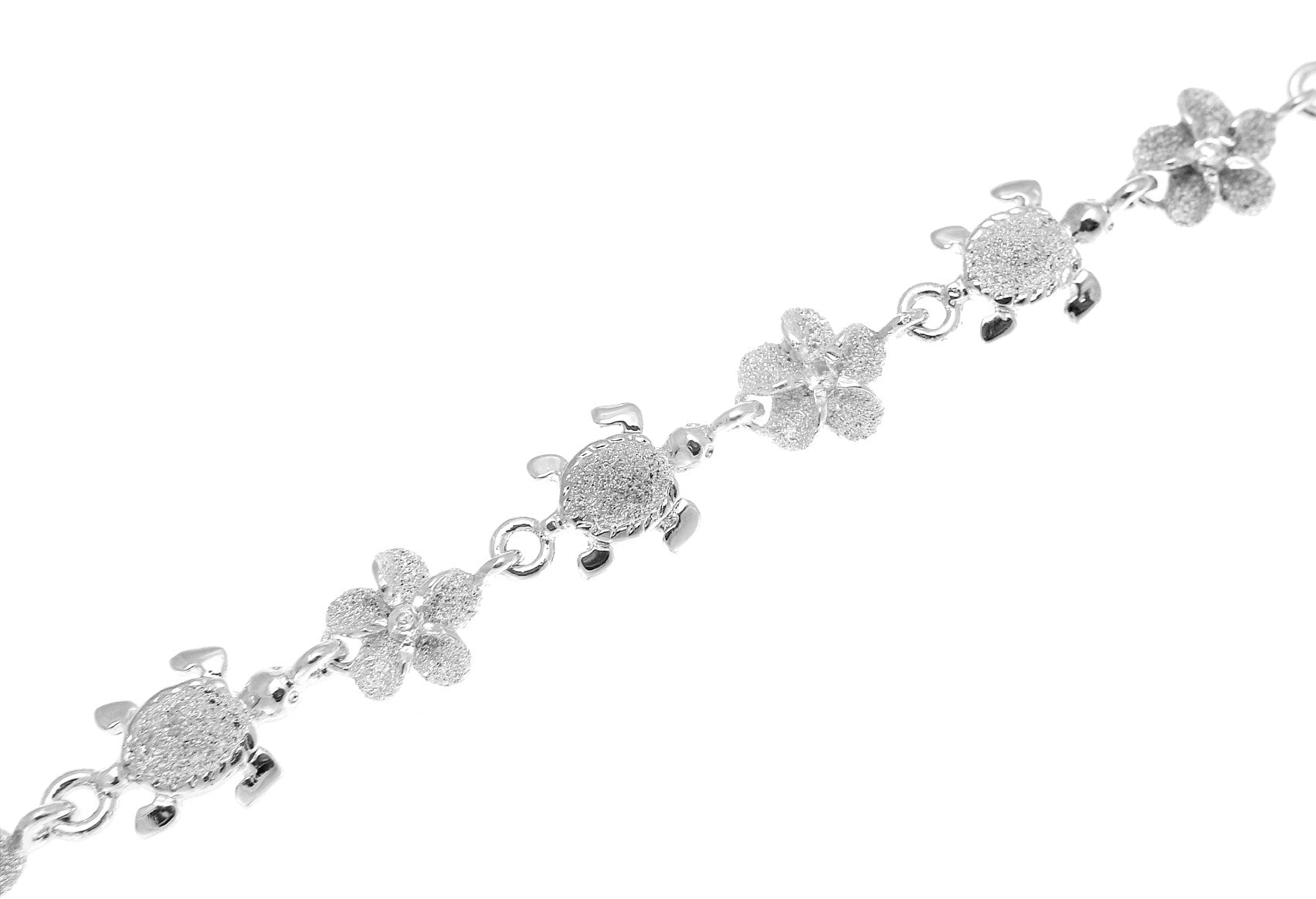 plumeria sterling hawaiian star cz fish foot silver chain anklet