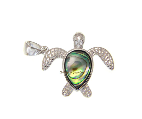 ABALONE PAUA SHELL SOLID 925 STERLING SILVER HAWAIIAN SEA TURTLE PENDANT 21MM