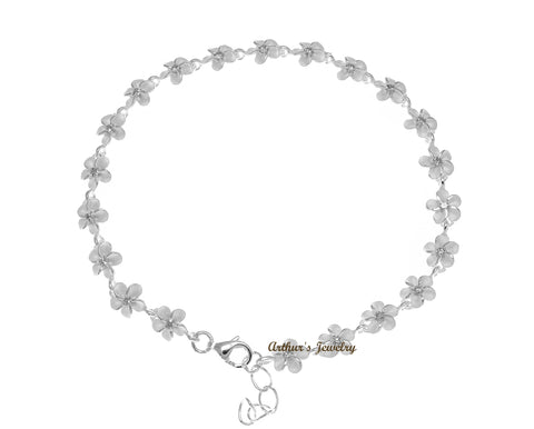 925 STERLING SILVER HAWAIIAN PLUMERIA FLOWER BRACELET CZ 8MM 7.5""