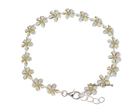 925 STERLING SILVER HAWAIIAN PLUMERIA FLOWER LINK BRACELET CZ 2T YELLOW 8MM 7""