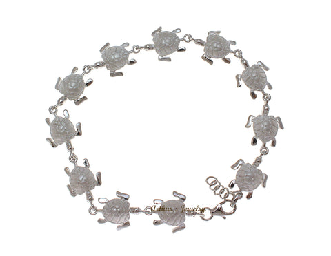 RHODIUM PLATED STERLING SILVER 925 HAWAIIAN SEA TURTLE BRACELET MEDIUM 7.5""