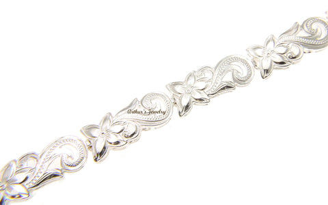 STERLING SILVER 925 HAWAIIAN PLUMERIA FLOWER SCROLL CUT OUT BRACELET 7""
