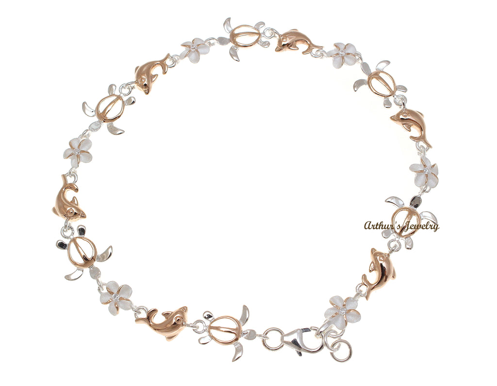 sparkle in multiple anklet hawaii with cz plumeria color