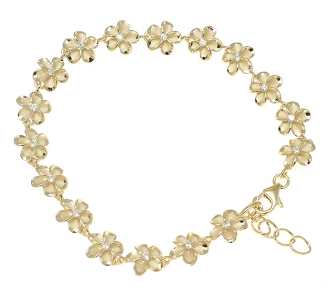 "YELLOW GOLD PLATED SILVER HAWAIIAN FANCY PLUMERIA FLOWER ANKLET CZ 8MM 9.5""+"