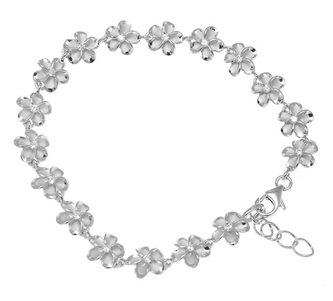 STERLING SILVER 925 HAWAIIAN 8MM CZ PLUMERIA FLOWER BRACELET RHODIUM