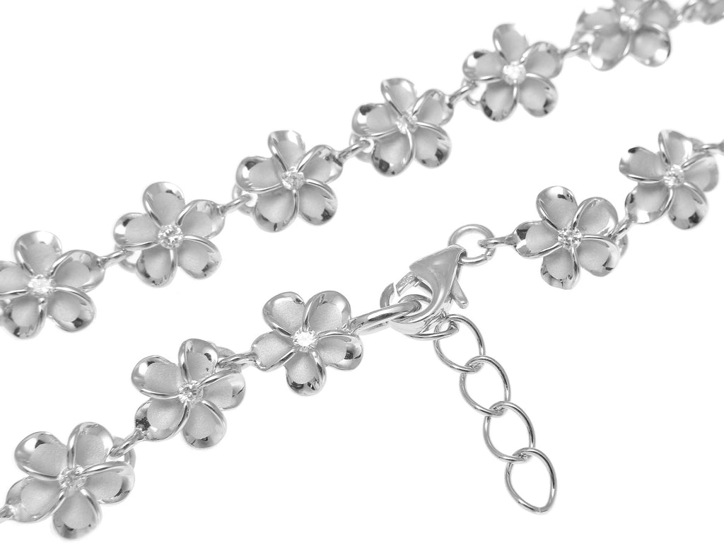 silver flower pin sparkle hibiscus chain hawaiian foot plumeria anklets stone anklet hawaii