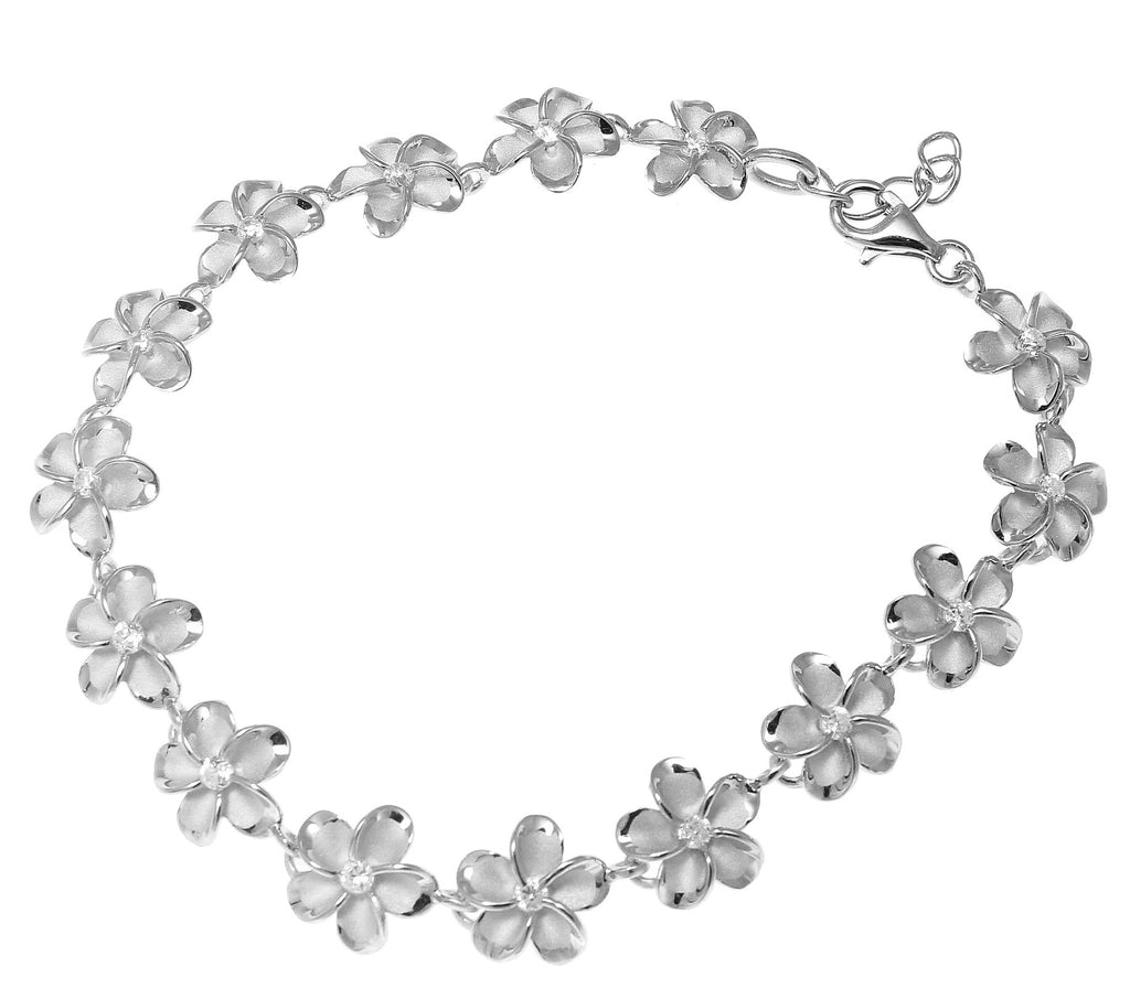 10MM STERLING SILVER 925 HAWAIIAN PLUMERIA FLOWER BRACELET RHODIUM