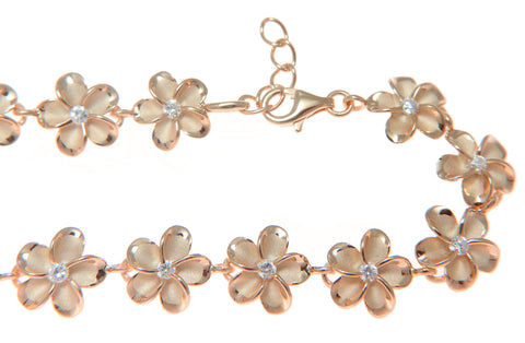 "PINK ROSE SILVER HAWAIIAN FANCY PLUMERIA FLOWER ANKLET CZ 10MM 9.5""+"