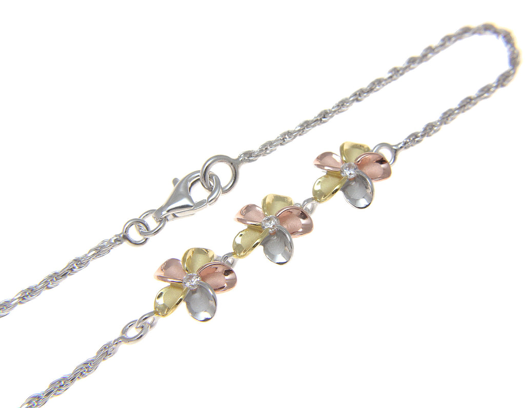 anklet cz plumeria with sparkle yellow hawaii in