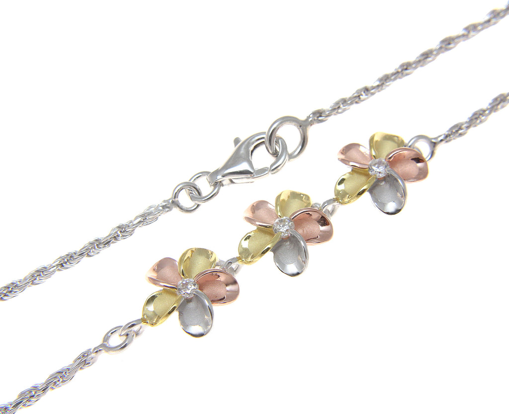 in plumeria anklet purple cz sparkle with hawaii