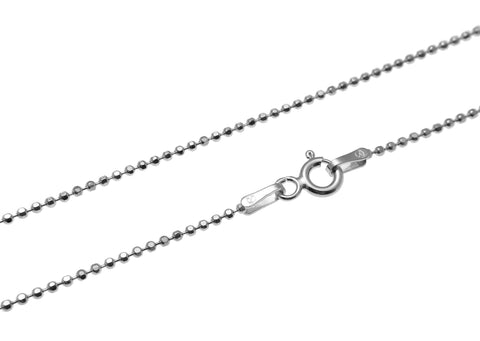 "1.2MM ITALIAN STERLING SILVER 925 RHODIUM PLATED DIAMOND CUT BEAD BALL CHAIN 16"" 18"" 20"""