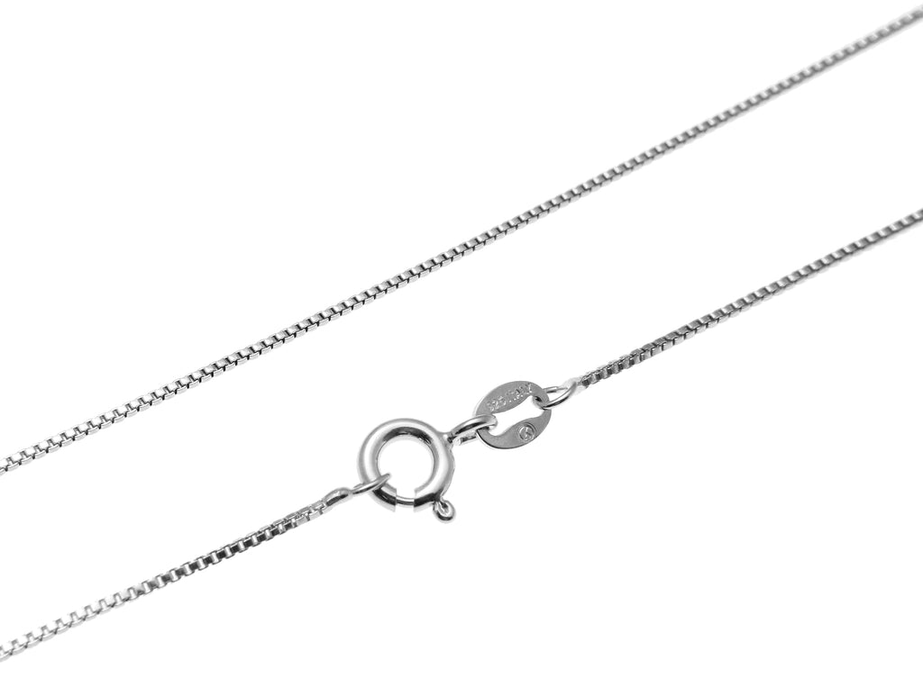 "1MM ITALIAN STERLING SILVER 925 RHODIUM PLATED BOX CHAIN NECKLACE 16"" 18"" 20"""
