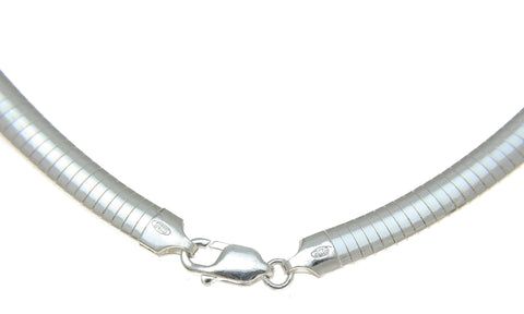"6MM ITALIAN SOLID 925 STERLING SILVER RHODIUM OMEGA NECKLACE CHAIN 18"" 20"""