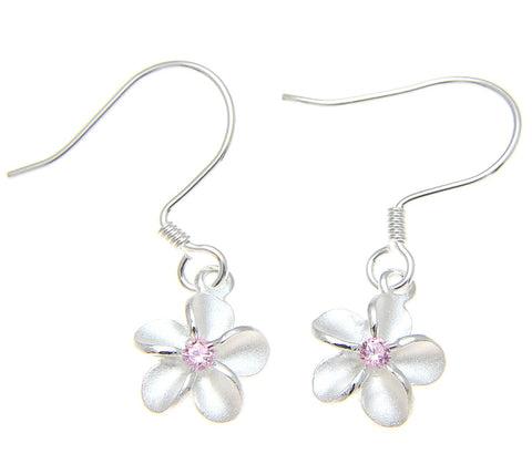 STERLING SILVER 925 HAWAIIAN PLUMERIA FLOWER EARRINGS WIRE HOOK PINK CZ 8MM