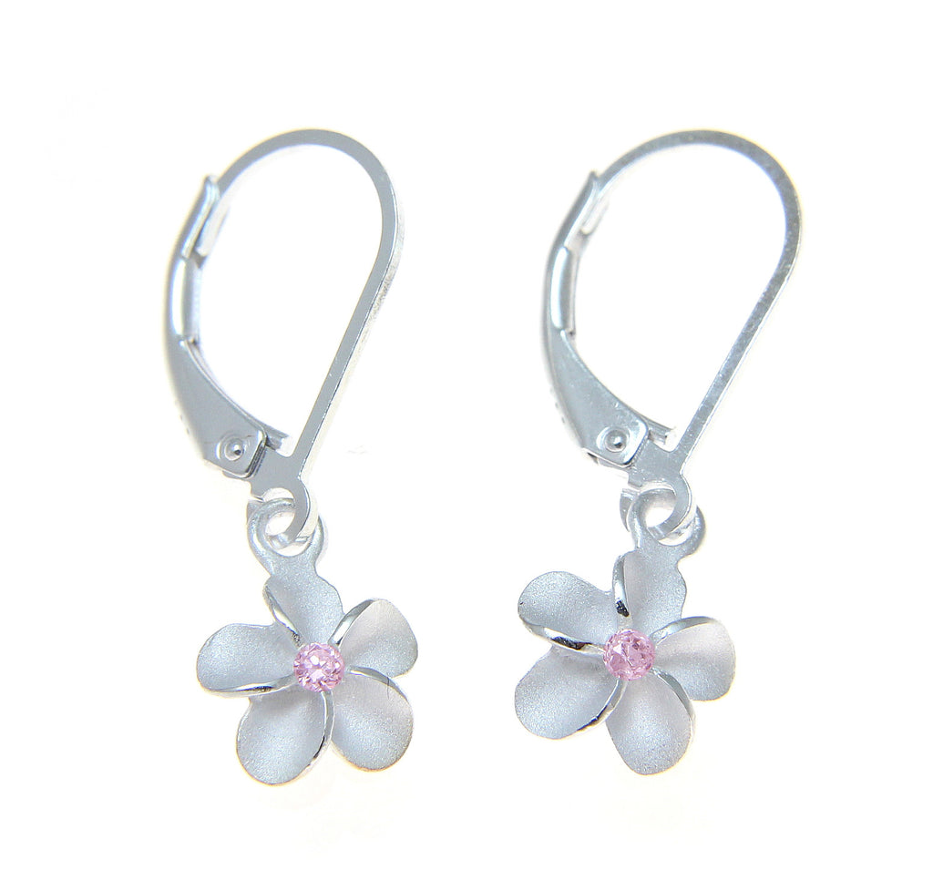 STERLING SILVER 925 HAWAIIAN PLUMERIA FLOWER LEVERBACK EARRINGS PINK CZ 10MM