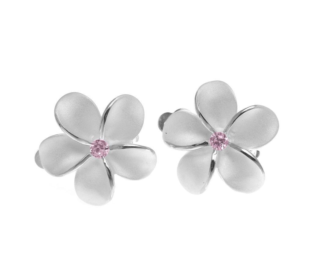 STERLING SILVER 925 HAWAIIAN PLUMERIA FLOWER EARRINGS 18MM PINK CZ CLIP ON