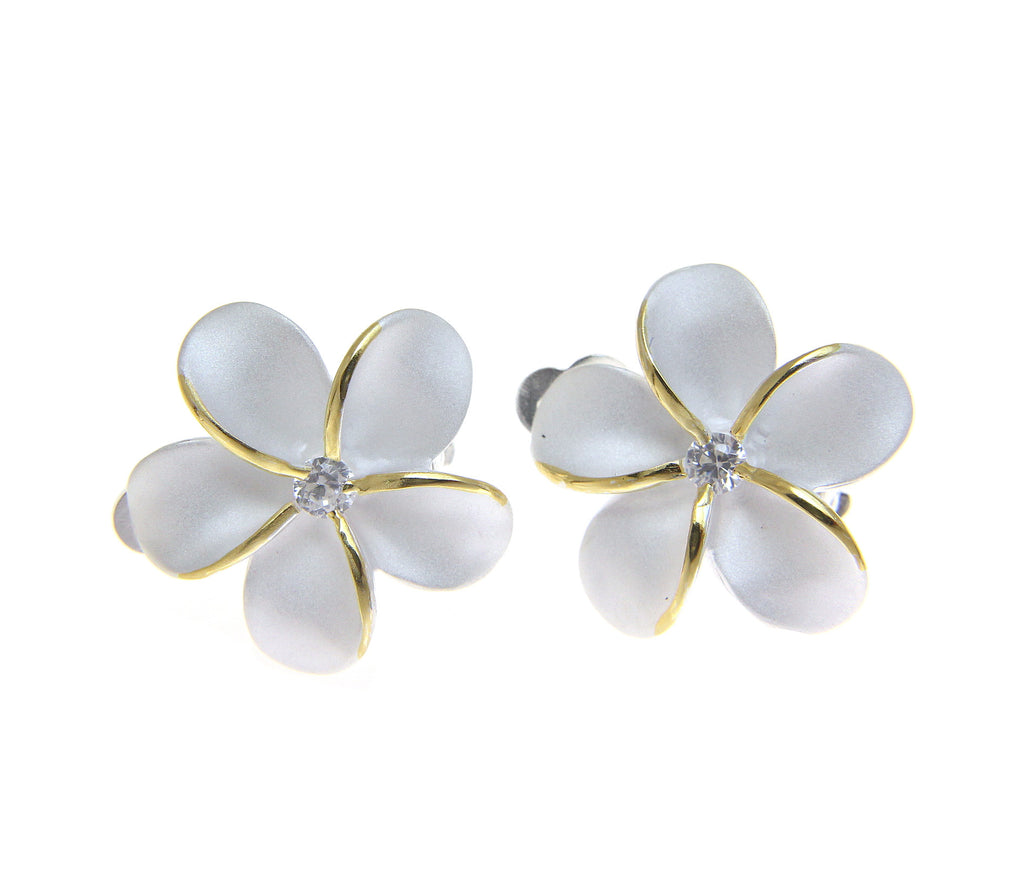 STERLING SILVER 925 HAWAIIAN PLUMERIA FLOWER EARRINGS 20MM 2 TONE CLIP ON