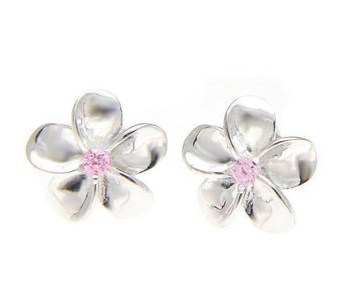 STERLING SILVER 925 SHINY HAWAIIAN PLUMERIA FLOWER POST EARRING PINK CZ 15MM