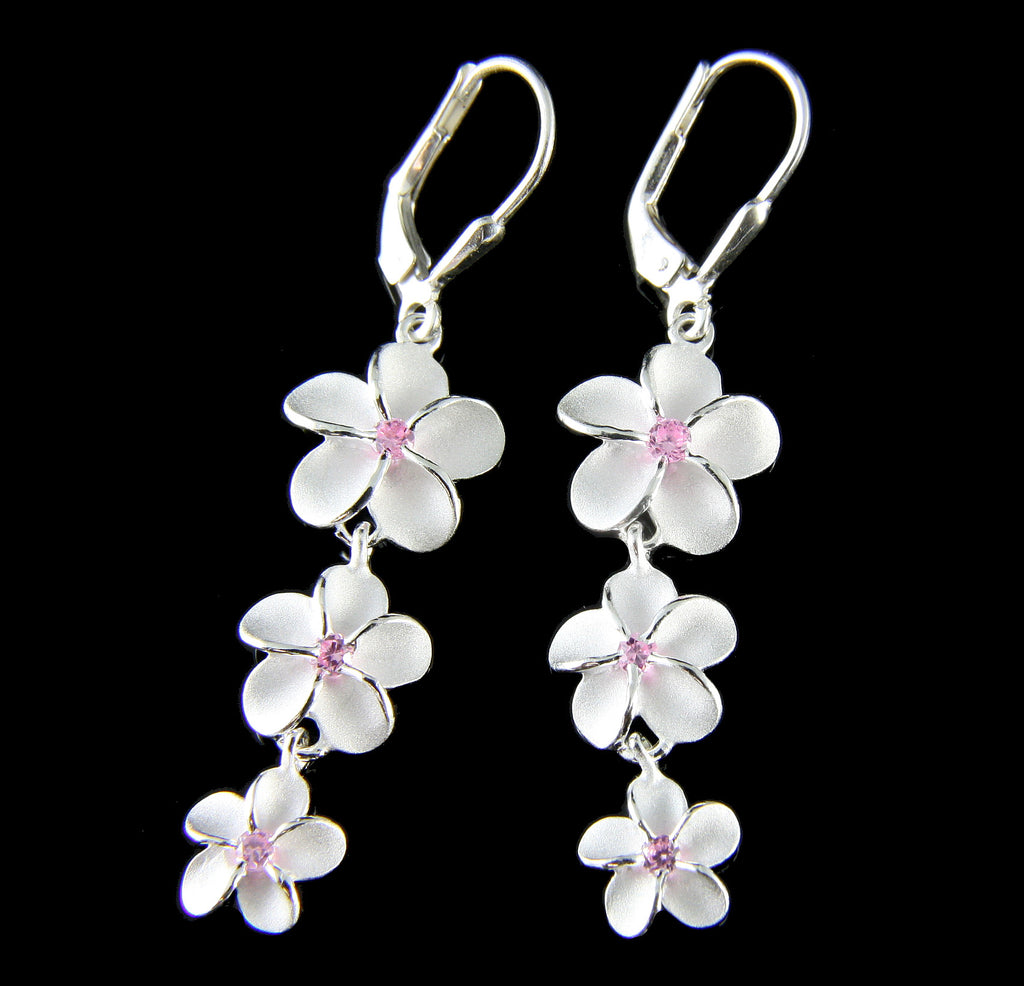 925 STERLING SILVER 3 DANGLE HAWAIIAN PLUMERIA FLOWER LEVERBACK PINK CZ EARRINGS
