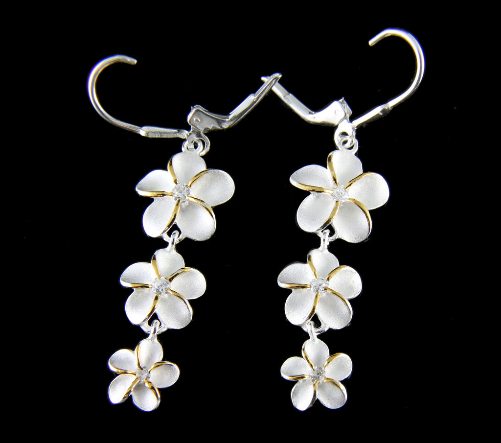 SILVER 925 2 TONE 3 HAWAIIAN PLUMERIA FLOWER DANGLING LEVERBACK CZ EARRINGS