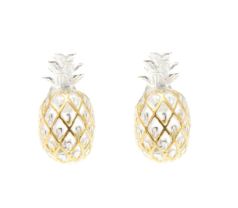 925 STERLING SILVER 2 TONE YELLOW GOLD HAWAIIAN PINEAPPLE POST STUD EARRINGS