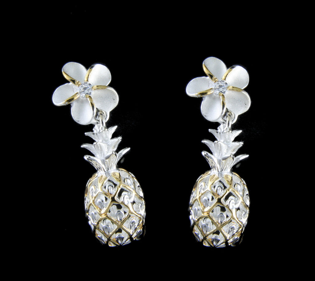 YELLOW GOLD PLATED SILVER 925 HAWAIIAN PLUMERIA DANGLE PINEAPPLE EARRINGS CZ