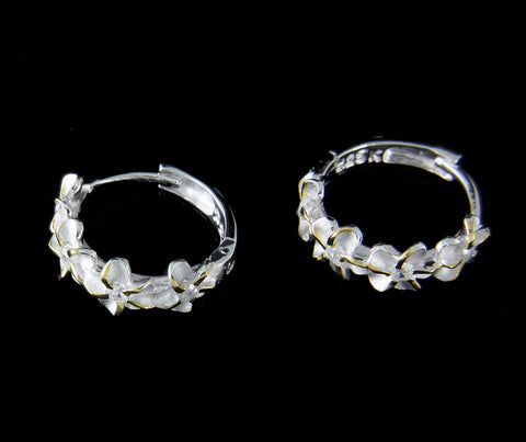 STERLING SILVER 925 2 TONE YELLOW 4 HAWAIIAN PLUMERIA FLOWER HOOP EARRINGS CZ