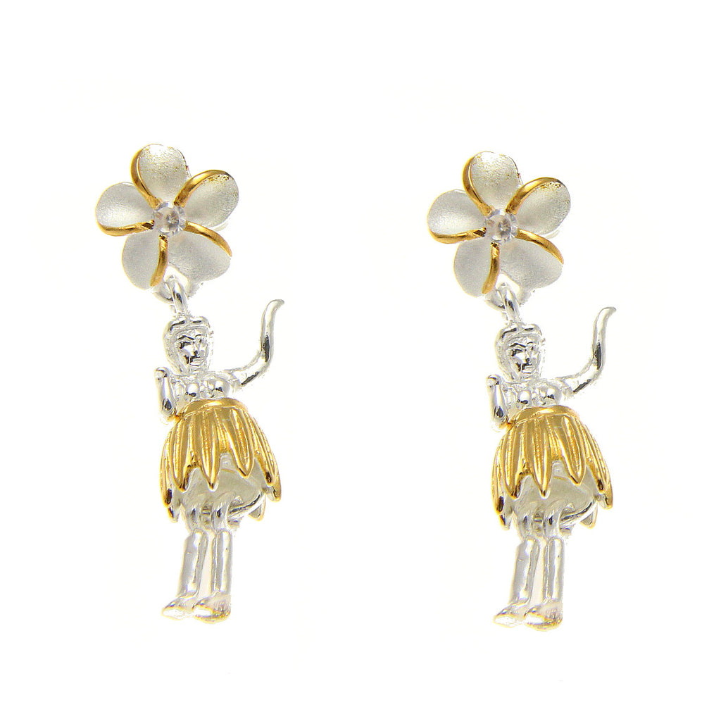 925 SILVER 2 TONE YELLOW HAWAIIAN PLUMERIA FLOWER HULA GIRL POST STUD EARRINGS