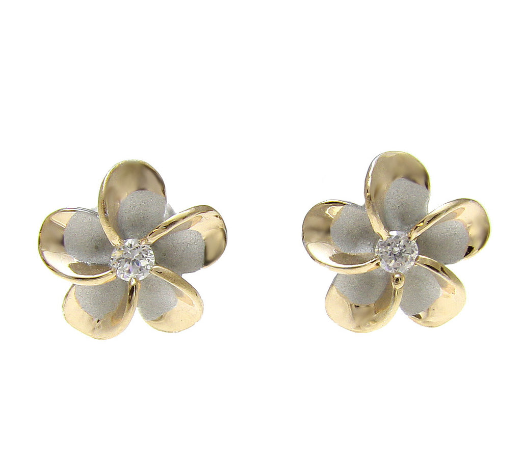 STERLING SILVER 925 HAWAIIAN 10MM PLUMERIA POST EARRINGS RHODIUM YELLOW GOLD 2T