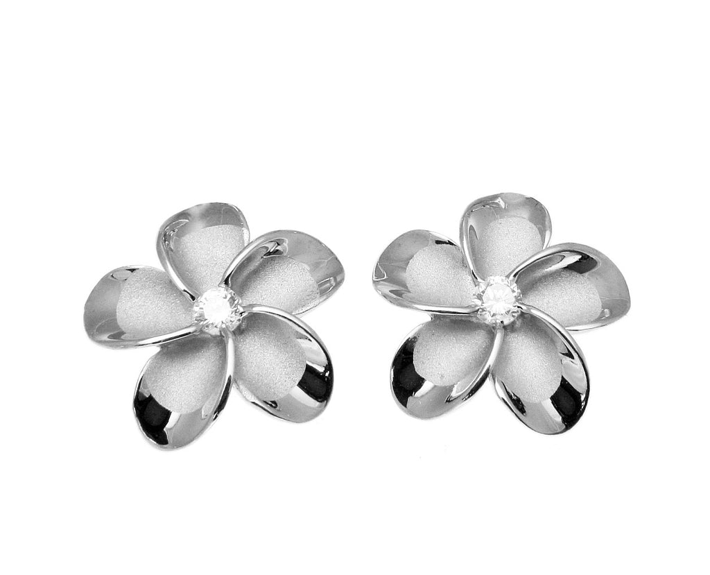 15MM STERLING SILVER 925 HAWAIIAN PLUMERIA FLOWER STUD POST EARRINGS RHODIUM