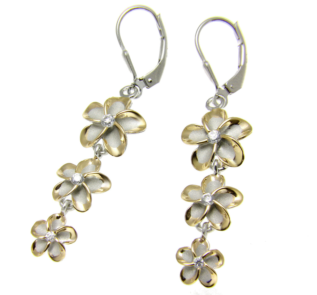 2 TONE YELLOW GOLD SILVER 925 RHODIUM HAWAIIAN 3 PLUMERIA LEVERBACK EARRINGS CZ