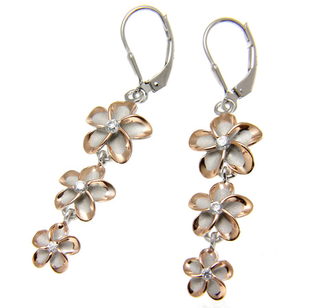 2 TONE ROSE GOLD SILVER 925 RHODIUM HAWAIIAN 3 PLUMERIA LEVERBACK EARRINGS CZ