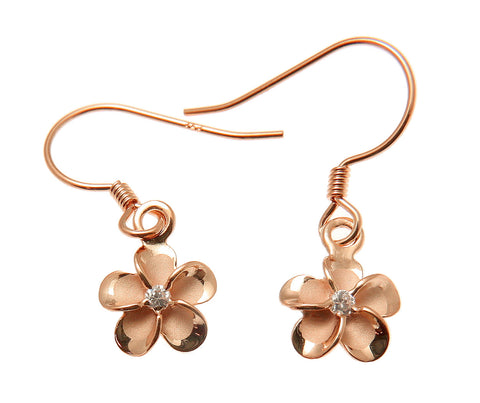 SILVER 925 PINK ROSE GOLD PLATED HAWAIIAN PLUMERIA FLOWER EARRINGS WIRE CZ 8MM