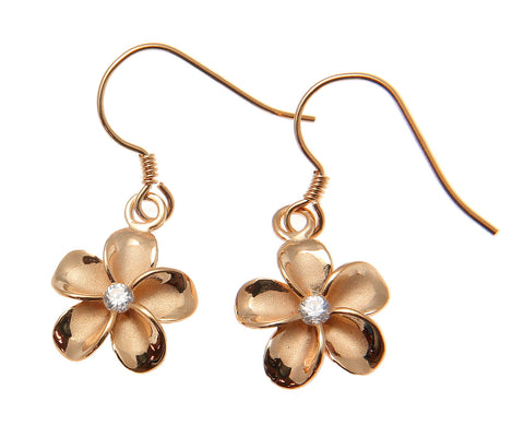 SILVER 925 PINK ROSE GOLD PLATED HAWAIIAN PLUMERIA FLOWER EARRINGS WIRE CZ 12MM