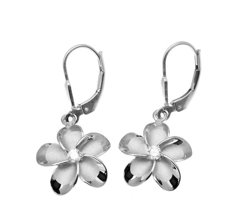 15MM STERLING SILVER 925 HAWAIIAN FANCY PLUMERIA LEVERBACK EARRINGS RHODIUM