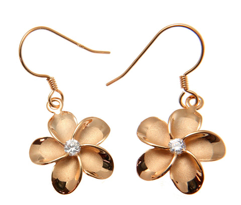 SILVER 925 PINK ROSE GOLD PLATED HAWAIIAN PLUMERIA FLOWER EARRINGS WIRE CZ 15MM